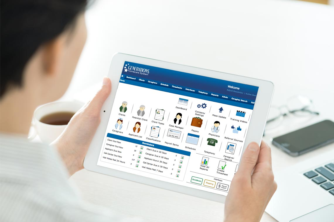 Generations Homecare System on tablet